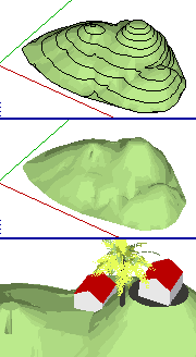 Bentuk terrain 3D dari peta topografi
