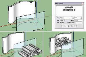 teks SketchUp di atas permukaan lengkung