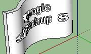 teks SketchUp 3D di permukaan lengkung3