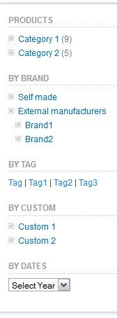 catalogue widget table of content