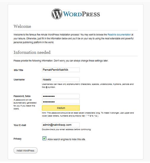 data awal wordpress