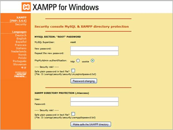 xampp security password