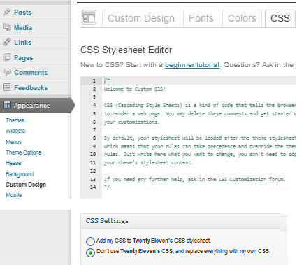 CSS Editor di WordPress.com