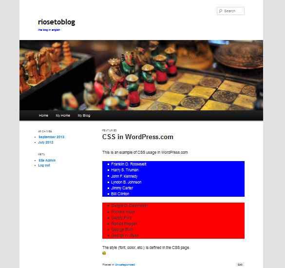 Tampilan blog dengan CSS