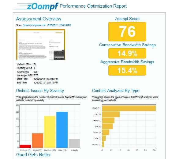 Uji blog atau situs memakai program Zoompf