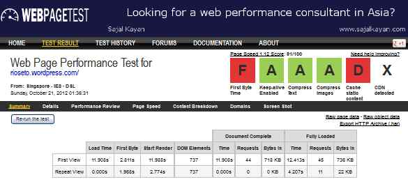 Uji blog atau situs memakai program WebPageTest