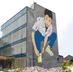 OpenSpace gambar kreatif di dinding bangunan Jakarta dan Bandung
